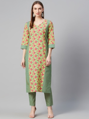 Yellow printed cotton kurtas-and-kurtis