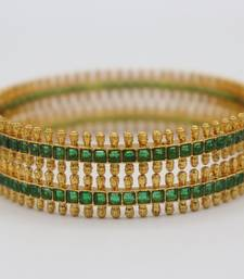 Gold plated Green Stone Studded Bangle Set of 2