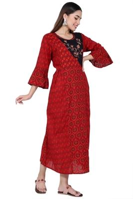 Red embroidered rayon kurtas-and-kurtis
