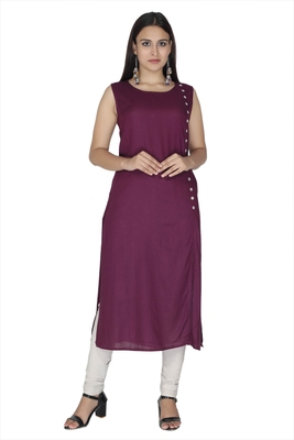 Purple embroidered cotton kurtas-and-kurtis