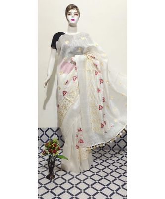 white Handwoven silk linen saree with embroidery work