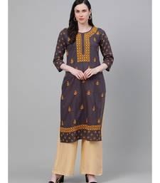 Ada Hand Embroidered Grey Cotton Lucknow Chikan Kurti-