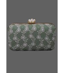 Ada Hand Embroidered Green Pure Georgette Lucknow Chikankari Clutch With Muqaish Work- A602046
