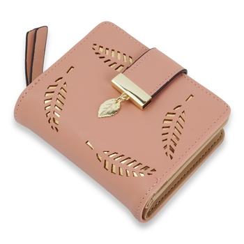 NFI essentials PU Leather Women's Mini Clutch Wallet Leaf Bi-fold Card Holder Purse Clutch Wallet
