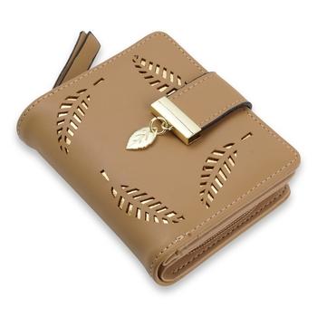 NFI essentials PU Leather Women's Mini Clutch Wallet|Leaf Bi-fold Card Holder|Purse Clutch Wallet
