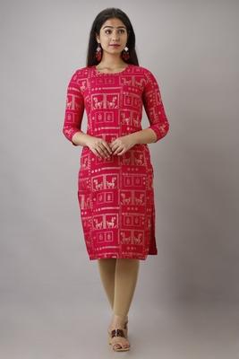 UseCart Rayon gold printed kurta & kurti pink