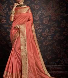 Rust woven art silk sarees saree with blouse