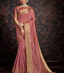 Pink woven art silk sarees saree with blouse