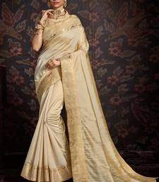 Cream woven art silk sarees saree with blouse