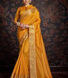 Yellow woven art silk sarees saree with blouse