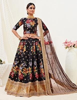 Black embroidered banglori satin Semi Stitched Wedding Lehenga for Bridal