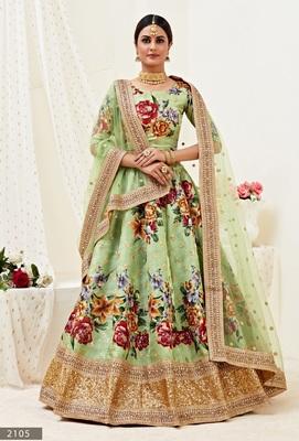 Light-green embroidered banglori satin Semi Stitched bridal lehenga