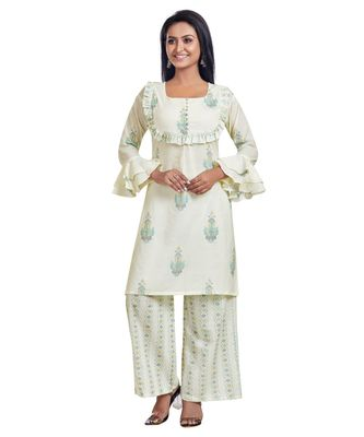 WHITE BLOCK PRINTED FLARE DETAILED KURTA PALAZZO SET