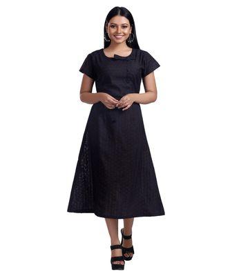 BLACK BOW TIE DETAILED CALF LENGTH DRESS