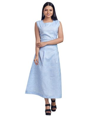 PASTEL BLUE CHECK PRINTED MAXI DRESS