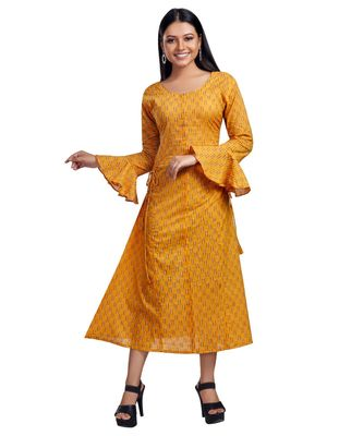 AMBER YELLOW BOTH SIDE TIE BELL SLEEVE MAXI DRESS