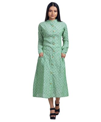TURQUOISE GREEN SELF TEXTURED FRONT OPEN SHIRT DRESS