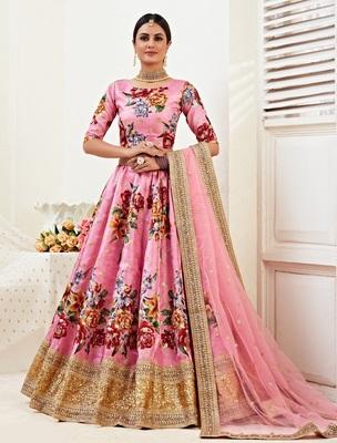 Pink embroidered banglori satin semi stitched lehenga