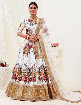 White embroidered satin Semi Stitched Wedding Lehenga for Bridal