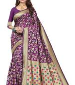 Buy PURPLE BANARASI SILK WITH GOLDEN BORDER SAREE WITH BLOUSE