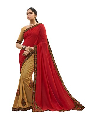 Red embroidered chanderi silk saree with blouse