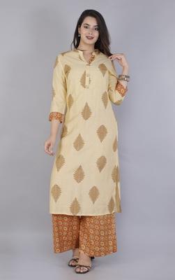 Ardozaa Women's Chanderi Printed Straight Kurta & Pant Set (Cream & Mustard)
