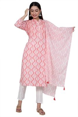 Ardozaa Women's Cotton Printed Straight Kurta Pant Dupatta Set (Baby Pink)