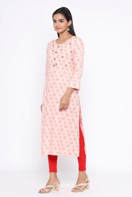 Ardozaa Women's Cotton Printed Straight Kurta (Pink)