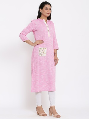 Ardozaa Womens Rayon Embroidrered Straight Kurta (Pink)