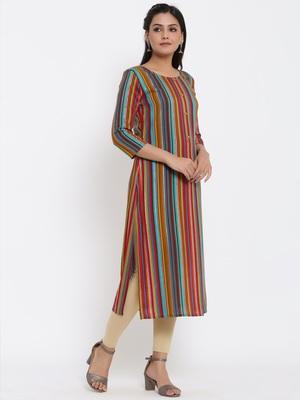Ardozaa Womens Chanderi Foil Print Straight Kurta (Multicolor)