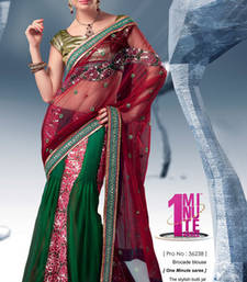 Buy Red and Green Embroidered Net saree with blouse one-minute-saree online