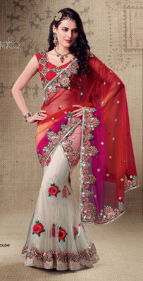 Red and White Embroidered Net saree with blouse