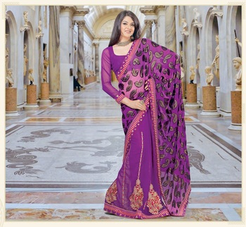 Violet embroidered Net saree with blouse
