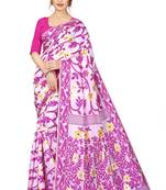 Buy PINK BANARASI COTTON SAREE WITH PINK FLOWER WITH BLOUSE