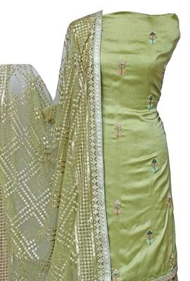Leaf Green Sharara / Skirt Unstitched Set