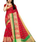 Buy RED BANARASI COTTON SAREE WITH BLOUSE