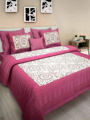RADHA RANI FASHIONS 100% Cotton  Double Bedsheet with 2 Pillow Covers ( 93*108)