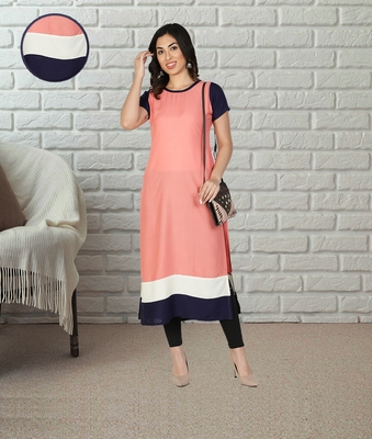 Fabclub Women Rayon Color block Straight Designer Kurti (Peach)