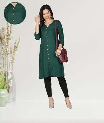 Fabclub Women Rayon Solid Plain Front Slit Straight Kurti (Dark Green)