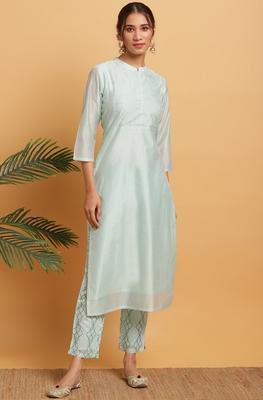 Light-green embroidered chanderi salwar