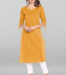 Yellow woven cotton ethnic-kurtis