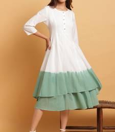 Off-white plain cotton party-wear-kurtis