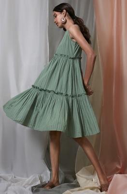 Green printed cotton party-wear-kurtis