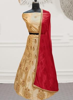 Beige Embroidery Satin Silk Party Wear  Ethnic Lehengas