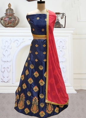 Blue Embroidery Satin Silk Party Wear  Ethnic Lehengas