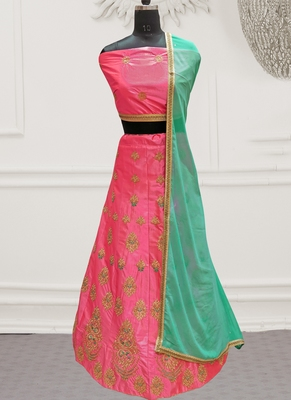 Pink Embroidery Satin Silk Party Wear  Ethnic Lehengas