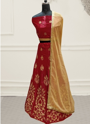 Red Embroidery Satin Silk Party Wear  Ethnic Lehengas