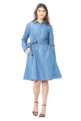 Blue plain denim short-dresses
