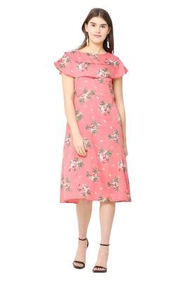 Peach printed polyester short-dresses