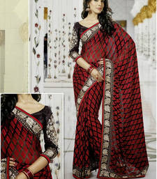 Buy Red embroidered rayon saree with blouse party-wear-saree online